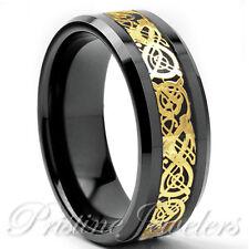 Gold Celtic Dragon Silver Tungsten Carbide Ring Black Carbon Mens Wedding Band