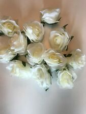 Pack of 12 Artificial Ivory Roses - 8 cm Flowers with Green leaves - Craft