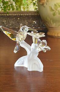 Sparkling Vintage Swarovski Crystal Hummingbird With Flower