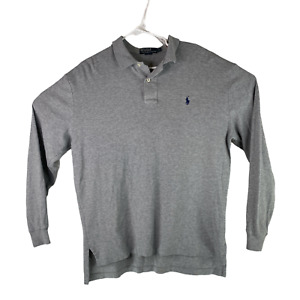 Polo by Ralph Lauren Mens Large Heather Gray Classic Fit Long Sleeve Polo Shirt