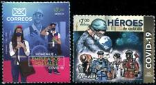 MEXICO 2020 FIGHT VIRUS 19 FRONT LINE HERO & POSTAL WORKERS COMP. SET OF 2 STAMP
