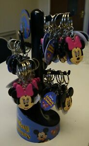 1 x DISNEY CHILDREN'S MICKEY MOUSE/MINNIE MOUSE KEYRINGS AND STAND (JOB LOT)