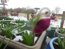 bird in glass on a copper rod to place in soil for the garden, plant pots & pond