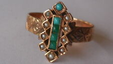 Divine Antique 1880's, 14ct Rose Gold, Turquoise/Seed pearl ring sz 8, 2.85g