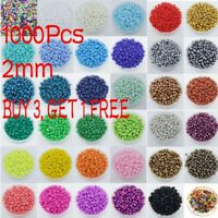 1000Pcs Round Czech Glass Seed Loose Spacer Beads Jewelry Making  2mm