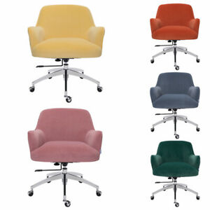 Velvet Office Chair Swivel Height Adjustable Computer Desk Chair Accent Tub Seat