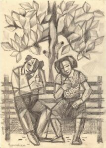 "Anatoliy Chudinovskikh Expressionist Bleistift Papier ""Süßes Paar"" 29x21 cm"