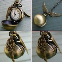 Pendant Necklace Steampunk Quidditch Wings Harry Potter Snitch Pocket Watch AUBU