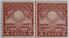 UNITED STATES #656: MH 2-Cents Golden Jubilee of Electric Light line pair
