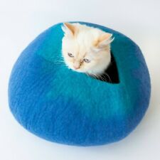 Blue & Turquoise Cat Cave Pet Bed - Large