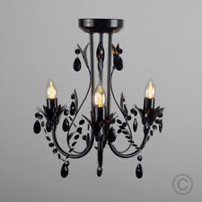 MiniSun Traditional LED Semi Flush Ceiling Light Fitting Chandelier Clear Jewels Black No