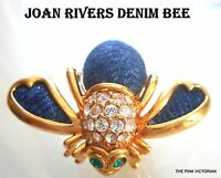 JOAN RIVERS Denim themed figural insect BUMBLE BEE rhinestone PIN brooch PK-2