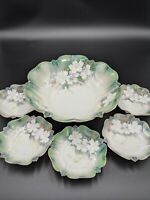 RS Prussia Berry Set Master Bowl w 5 Small Bowls Green White Gold Flowers German