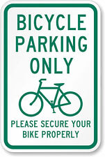 """bike bicycle parking only please secure 12"""" x 8"""" Aluminum Sign made USA"""