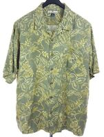 TOMMY BAHAMA Mens 100% Silk Green Floral S/S Hawaiian Camp Shirt XL