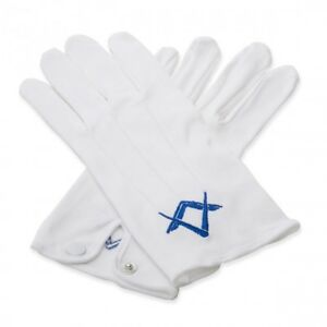 White 100% Soft Cotton Masonic Gloves with Royal Blue Sq & Compass