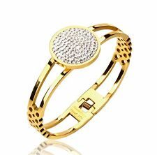 18K Gold GP Round Crystal Stainless Steel Women's Double Band Bracelet Bangle