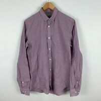 Industrie Mens Button Up Shirt XS Violet Long Sleeve Collared