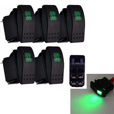 Waterproof 5Pcs 4Pin 12V 20A Bar Rocker Toggle Switch Green LED Light Car Boat
