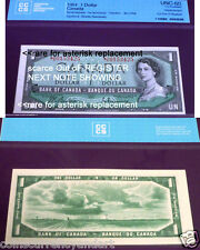 scarce Out oF REGISTER *A/A REPLACEMENT 1954 Bank of Canada $1-NEXT NOTE SHOWING