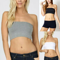 Women Ladies Tube Bra Seamless Bandeau Strapless Stretch Solid Crop Tops
