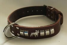 LEATHER FRENCH BULLDOG 1 1/4 INCH WIDE DOG COLLAR, REAL LEATHER SILVER