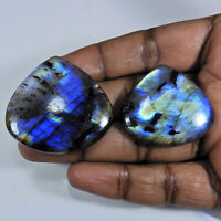 161Cts.Natural Labradorite Multi Fire Pear Cabochon Loose Gemstone 2Pcs Lot b978