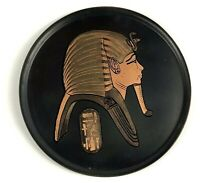 Vintage Egyptian Revival Decor Black Enameled Copper Collectible Wall Plate 8.5""