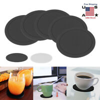5Pcs Silicone Drink Coffee Coasters Cup Mat Tableware Pad Non Slip Round Black