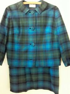 Pendleton Vtg '60s Jacket Skirt Blue Plaid Wool Suit Round Collar Approx Sz 8-10