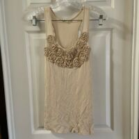 Alythea Women's Ivory/Cream Scoop Neck Floral ruffle Detail tank size M