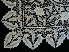 "AMAZING Antique Point de Venise Lace Tablecloth 42"" Topper PRISTINE Hand Made"