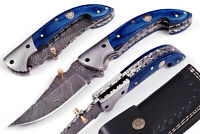 Custom Made Damascus Blade, one of a Stunning Folding Knife Liner Lock 5202-Blue