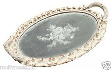 Palladian Oval French Provincial Cream Decorative Ornate Shabby Mirror Tray