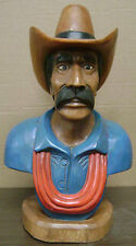 "Cowboy Bust, Hand Carved Wood, 25"" tall, sns24"