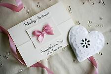 SAMPLE Personalised Wedding Invitation Gatefold (h) Satin Bow and Envelope