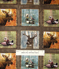 "Mountain Woods Animals Moose Duck Elk Cotton Fabric SPX Wild Animal 35"" PANEL"