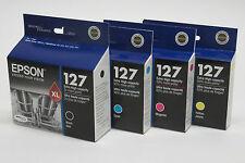 4 Genuine Epson T127 127 Black cyan magenta yellow ink Workforce 630 633 635 645