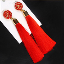 Flower Rose Tassel Drop Earrings Boho Bohemian Fringe Tassel Earrings for Women