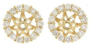 Solid 14K Yellow Gold 0.55CT Real Natural Diamond Jackets Earrings Fine Jewelry