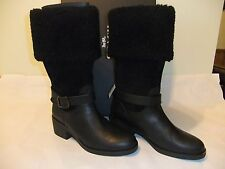 COACH Parka Black Leather & Suede Leather Winter Knee High Boot Sze 9 NIB $295