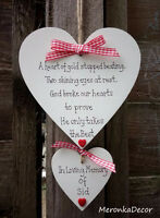 Large PET MEMORIAL-Dog-Cat Indoor Wooden Personalised Plaque- Red gingham