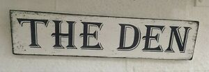 Rustic The Den Comfy cozy room Shabby Chic Wooden Sign Plaque free standing
