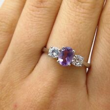 Signed 925 Sterling Silver Real Amethyst Gemstone C Z Ring Size 8