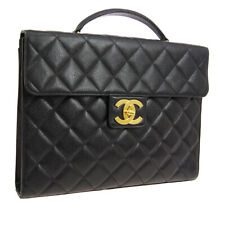 CHANEL Quilted CC Briefcase Business Hand Bag 3241265 Purse Black Caviar A46638f