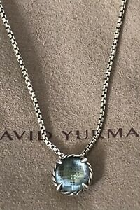 "DAVID YURMAN Chatelaine 8mm Blue Topaz Pendant 925 Box Chain Necklace 16"" Pouch"