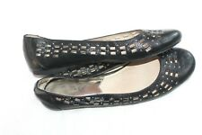 MICHAEL KORS Black Leather Silver Studded Cut-Out Flats Women's Size 8 M Shoes