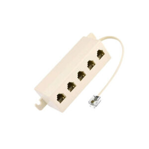 6P4C RJ11 5 Way Telephone Phone Line Modular Jack Coupler Splitter Adapter Plug