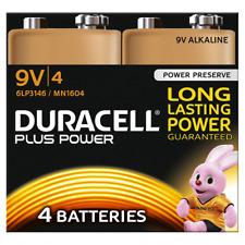 4 x Duracell 9V PP3 Plus Power Batteries Smoke Alarm LR22 MN1604 Long Lasting