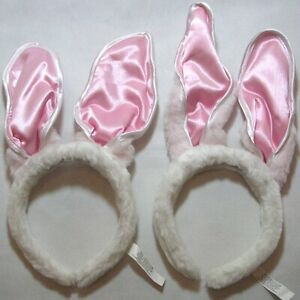 """2 Sets of Bunny Ears for head. White w/ pink inside Adjustable shape 7""""(H) GREAT"""
